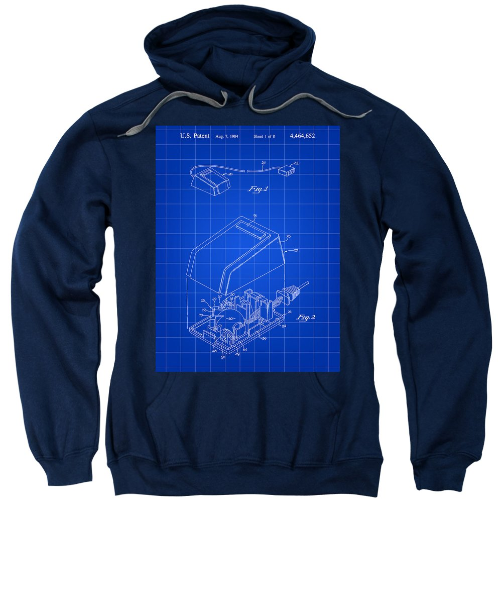 Apple Sweatshirt featuring the digital art Apple Mouse Patent 1984 - Blue by Stephen Younts