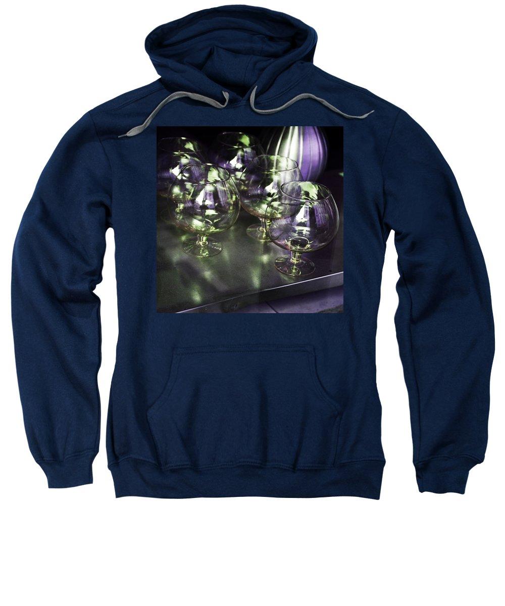 Evie Carrier Sweatshirt featuring the photograph Aubergine Paris Wine Glasses by Evie Carrier