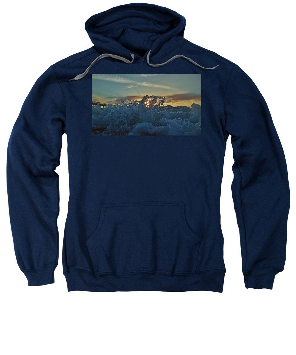 Mark Lemmon Cape Hatteras Nc The Outer Banks Photographer Subjects From Sunrise Sweatshirt featuring the photograph Avon Pier Sunrise Wave Splash 9/08 by Mark Lemmon