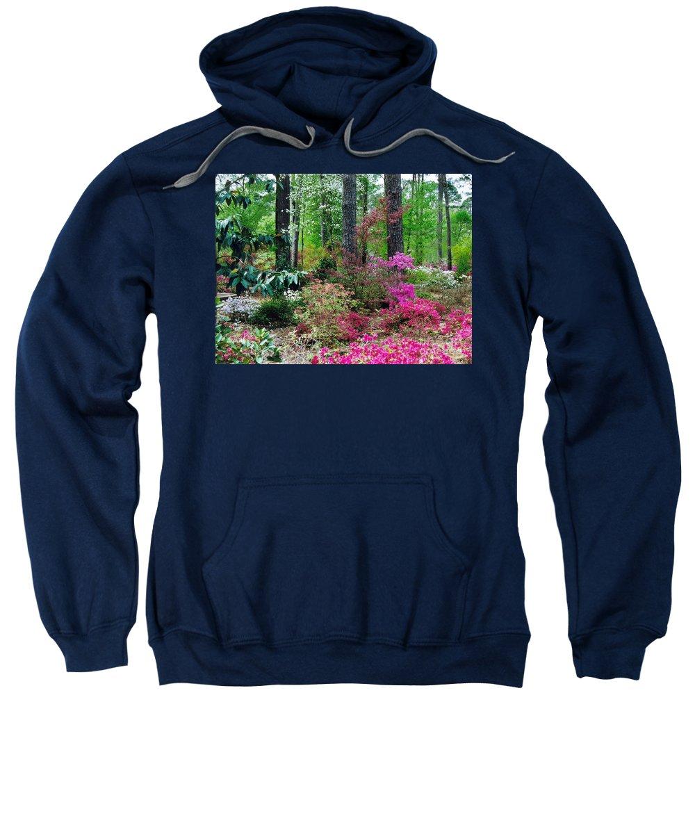Azaleas Sweatshirt featuring the photograph Azaleas Red Maple And Magnolia Trees by Ruth Housley