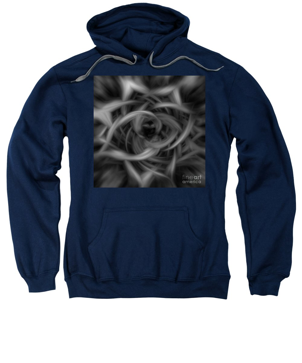Abstract Sweatshirt featuring the digital art Background Flames Bw Dark by Henrik Lehnerer