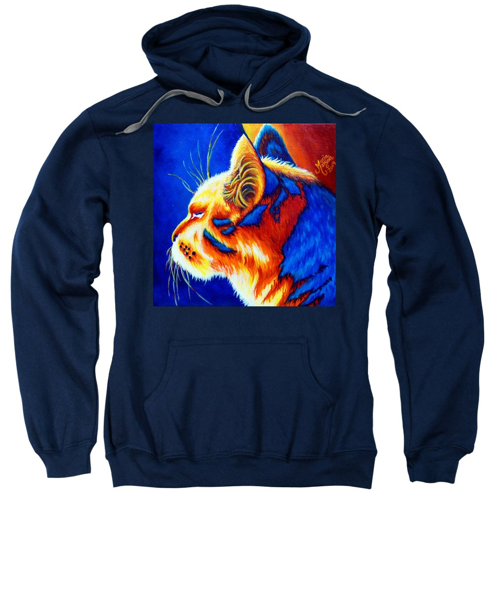 Cat Sweatshirt featuring the painting Basking by Monique Morin Matson