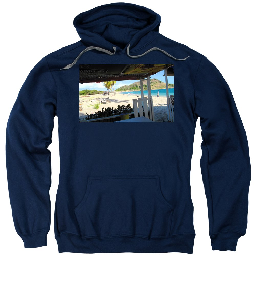 St Kitts Sweatshirt featuring the photograph Beach Bar In January by Ian MacDonald