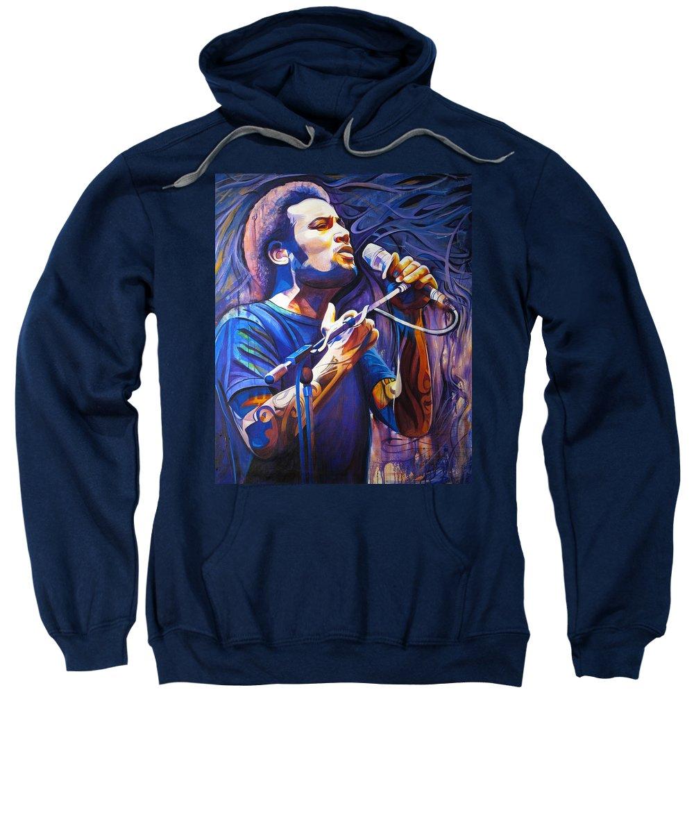 Ben Harper Sweatshirt featuring the painting Ben Harper And Mic by Joshua Morton