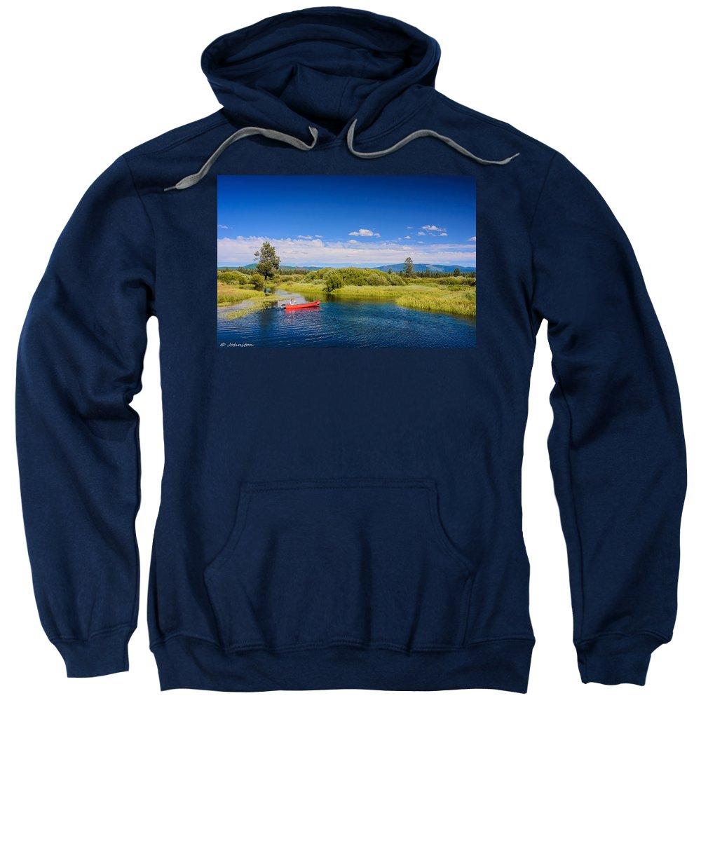 Bend Sweatshirt featuring the digital art Bend Sunriver Thousand Trails Oregon by Bob and Nadine Johnston