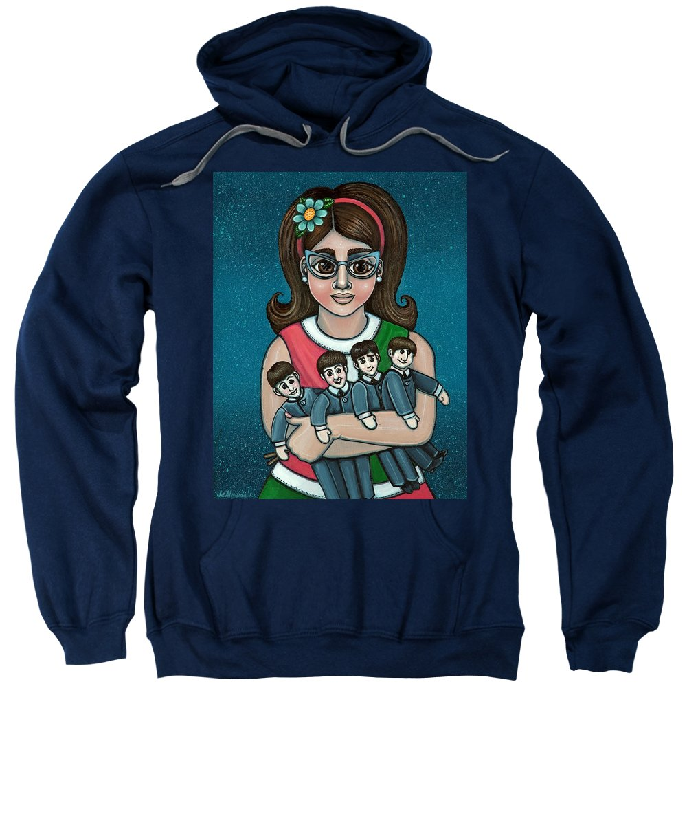 1960 Sweatshirt featuring the painting Betty Jeans BEATLES by Victoria Jones