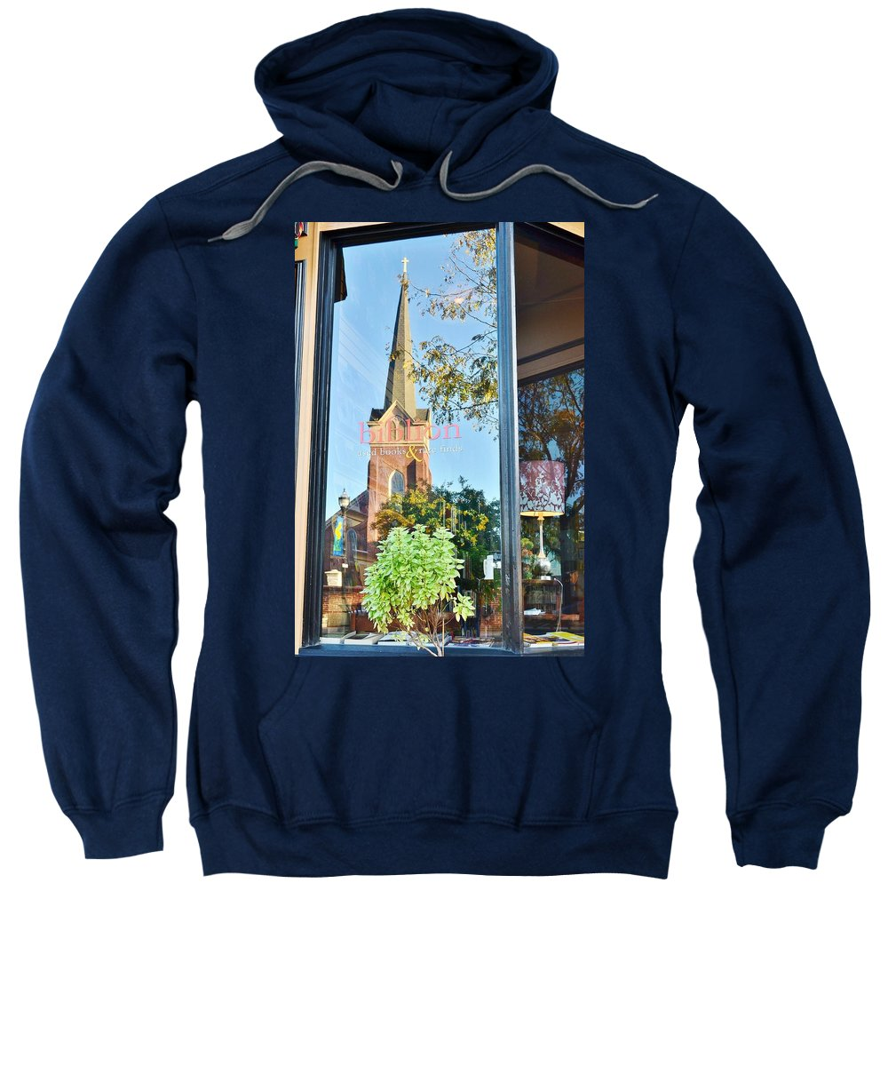 Biblion Sweatshirt featuring the photograph Biblion Used Books Reflections 3 - Lewes Delaware by Kim Bemis