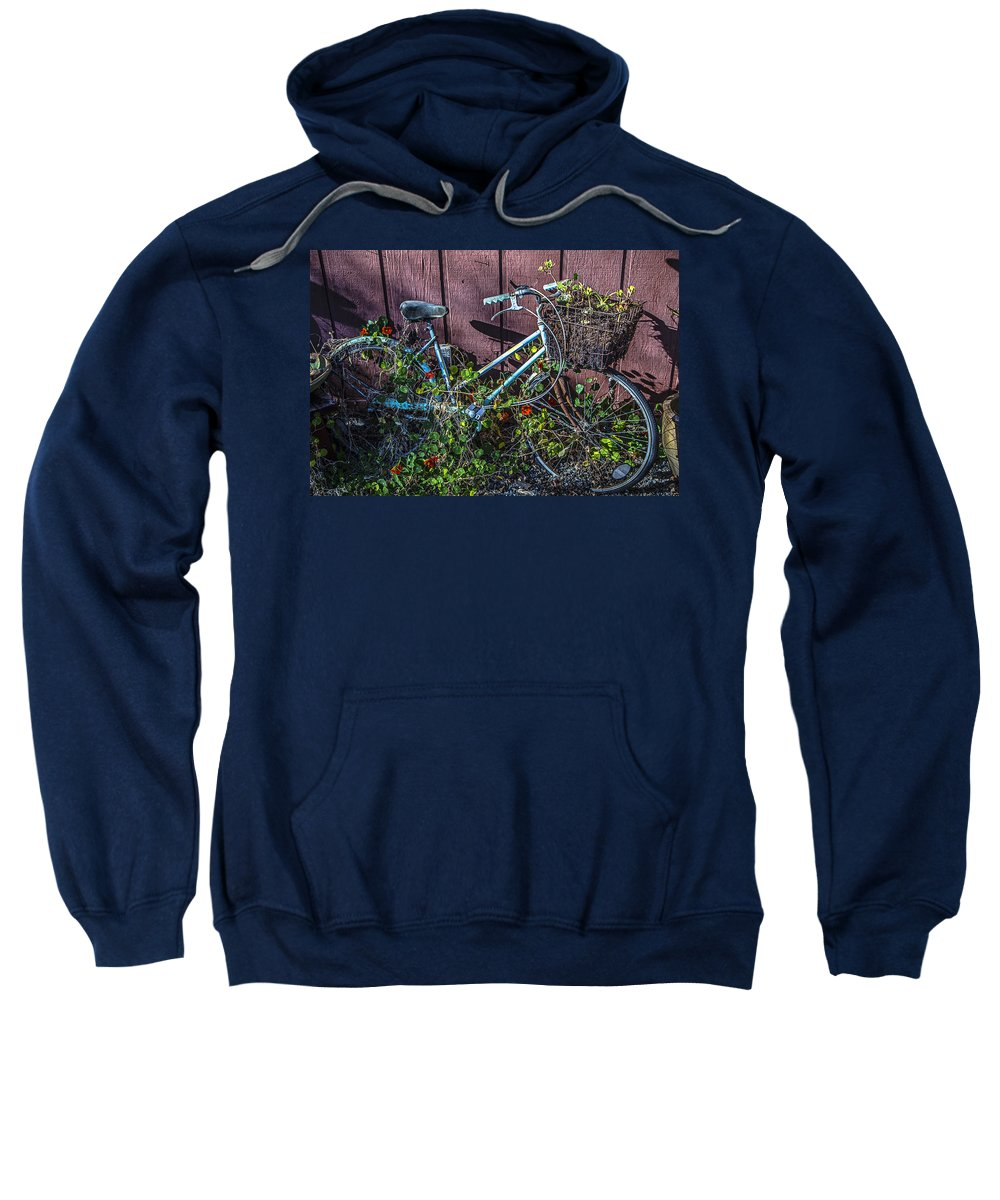 Bike Sweatshirt featuring the photograph Bike In The Vines by Garry Gay