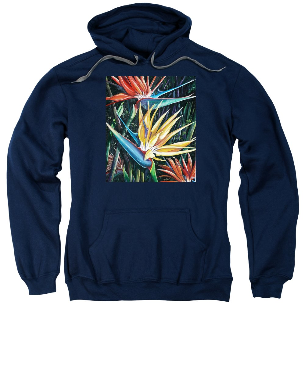 Caribbean Paintings Flower Paintings Bird Of Paradise Paintings  Lily Tropical Paintings Caribbean Flower Paintings Tropical Paintings Tropical Flower Paintings Greeting Card Paintings Canvas Print Paintings Poster Print Paintings Bloom Colorful Sweatshirt featuring the painting Birds Of Paradise 2  Sold by Karin Dawn Kelshall- Best