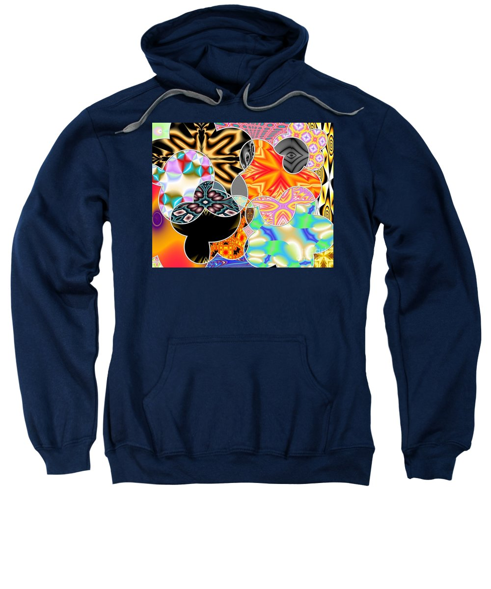Abstracts Sweatshirt featuring the digital art Bizzarro Colorful Psychedelic Floral Abstract by Rose Santuci-Sofranko
