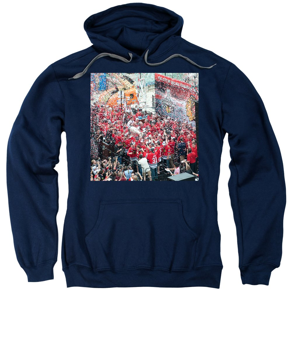 Chicago Sweatshirt featuring the photograph Blackhawks Celebration Stage by Curtiss Messer