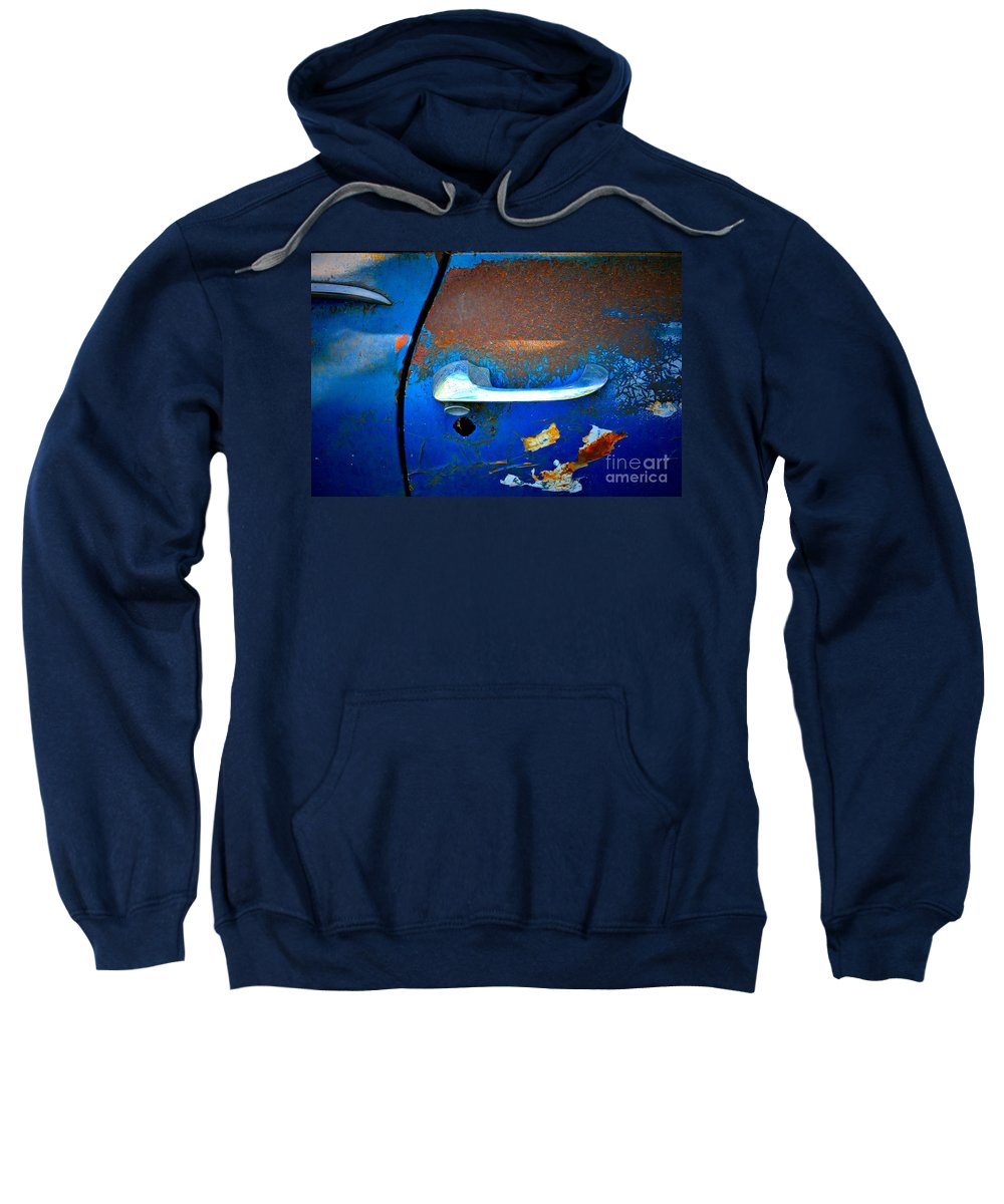 Car Sweatshirt featuring the photograph Blue And Rusty Picking by Gwyn Newcombe