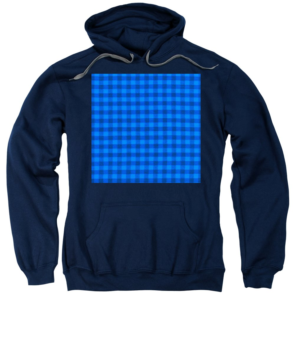 Fabric Background Sweatshirt featuring the photograph Blue Checkered Tablecloth Fabric Background by Keith Webber Jr