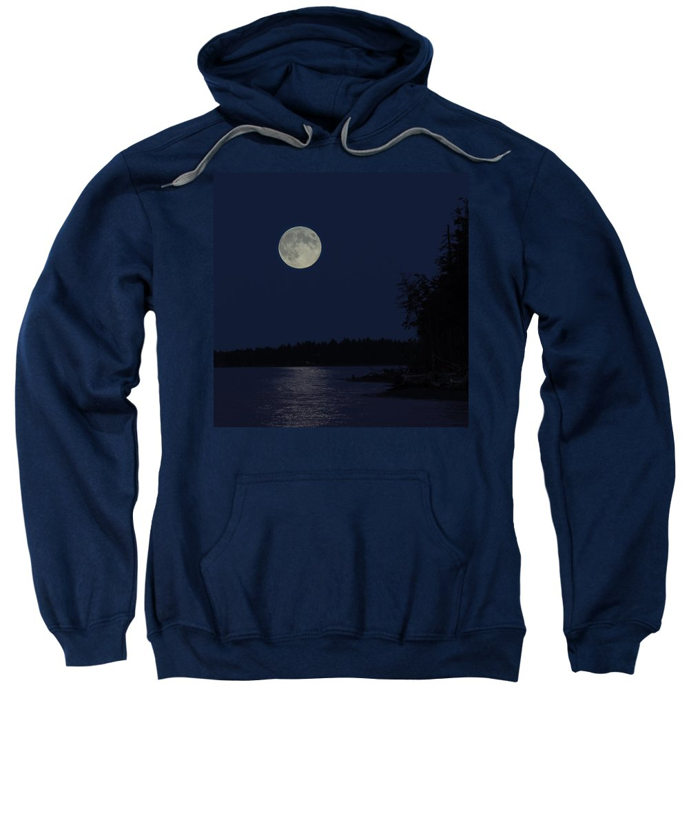 Full Moon Sweatshirt featuring the photograph Blue Moon by Randy Hall