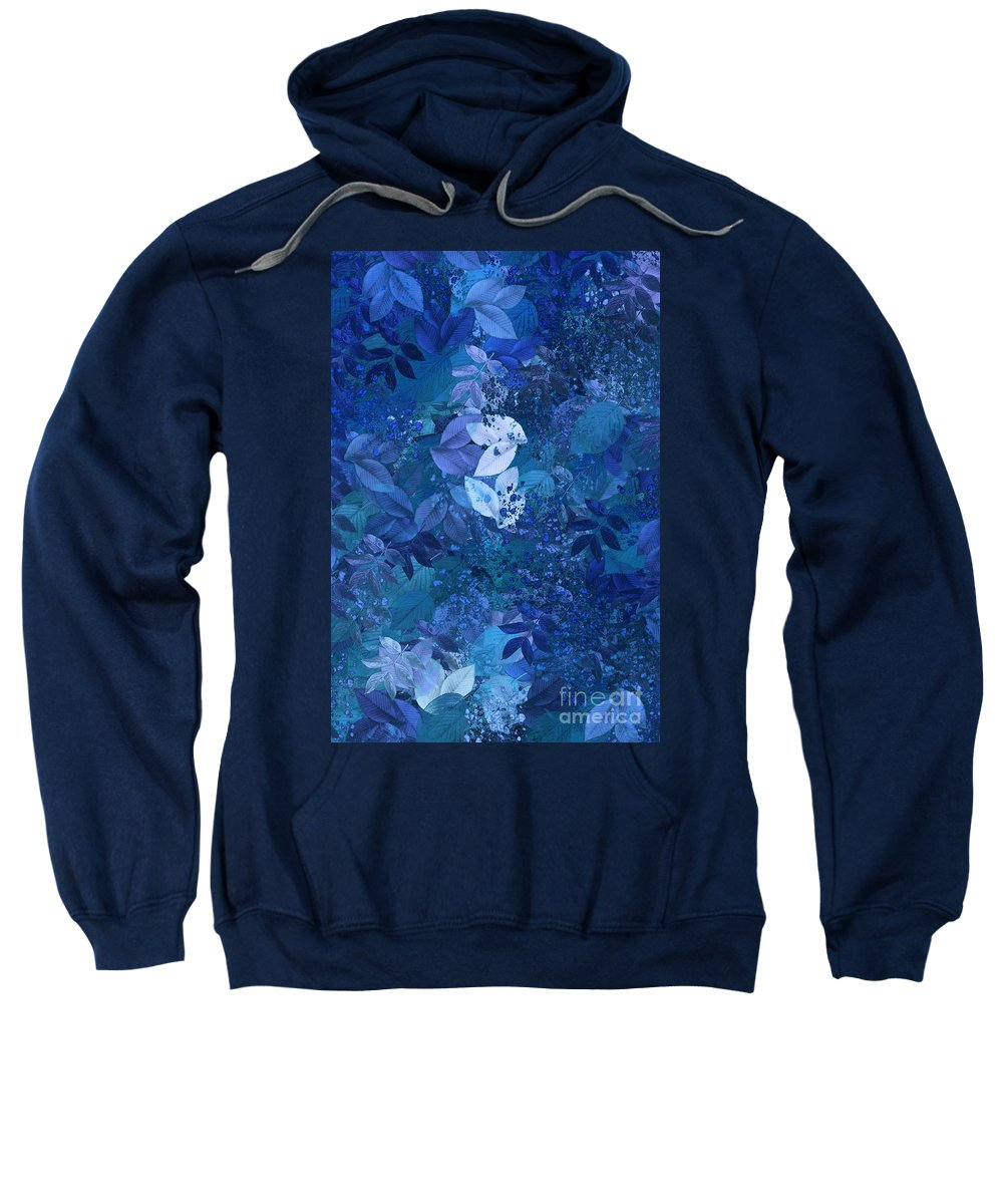 Blue Sweatshirt featuring the digital art Blue - Natural Abstract Series by Aimelle