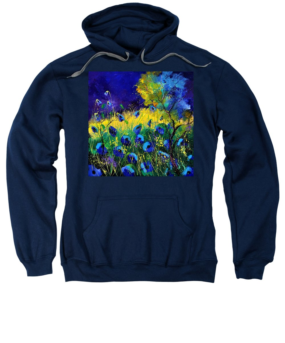 Landscape Sweatshirt featuring the painting Blue poppies 7741 by Pol Ledent