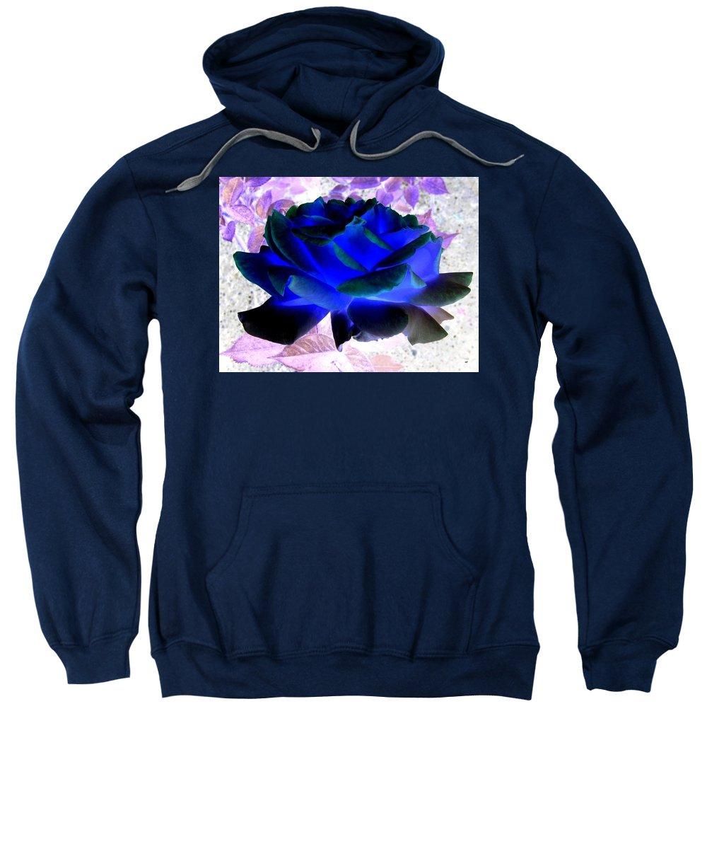 Blue Rose Sweatshirt featuring the digital art Blue Rose by Will Borden
