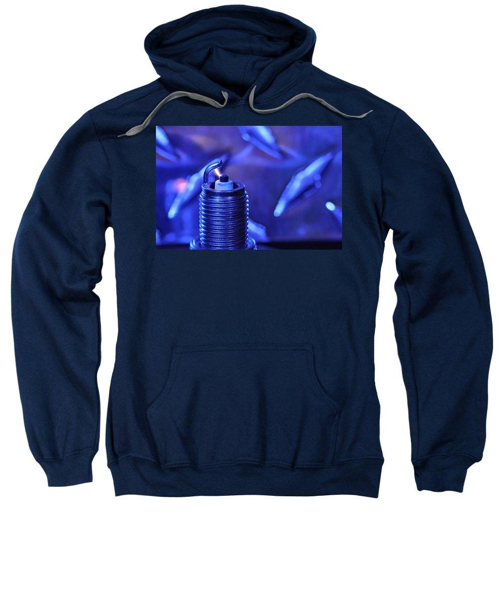 Sparkplug Sweatshirt featuring the photograph Blue Spark by David Andersen