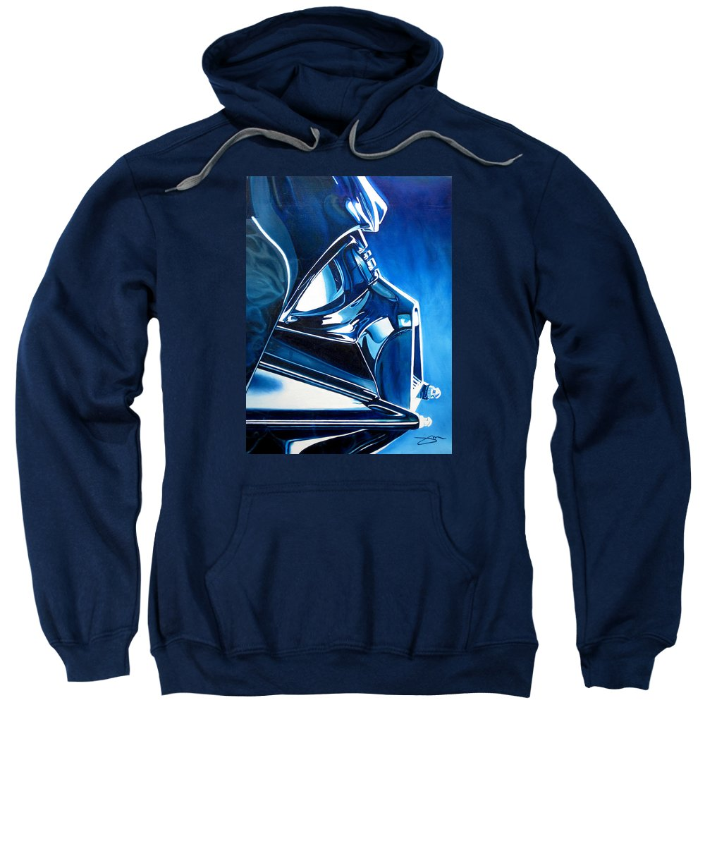Star Wars Sweatshirt featuring the painting Blue Vader by Joshua Morton