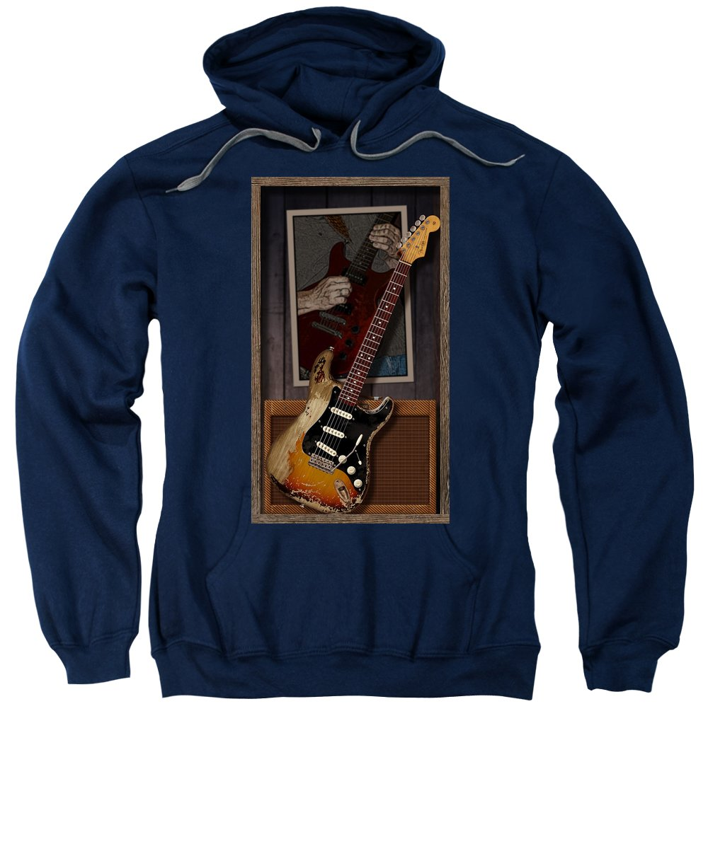 Fender Stratocaster Sweatshirt featuring the digital art Blues Tools 2 by WB Johnston