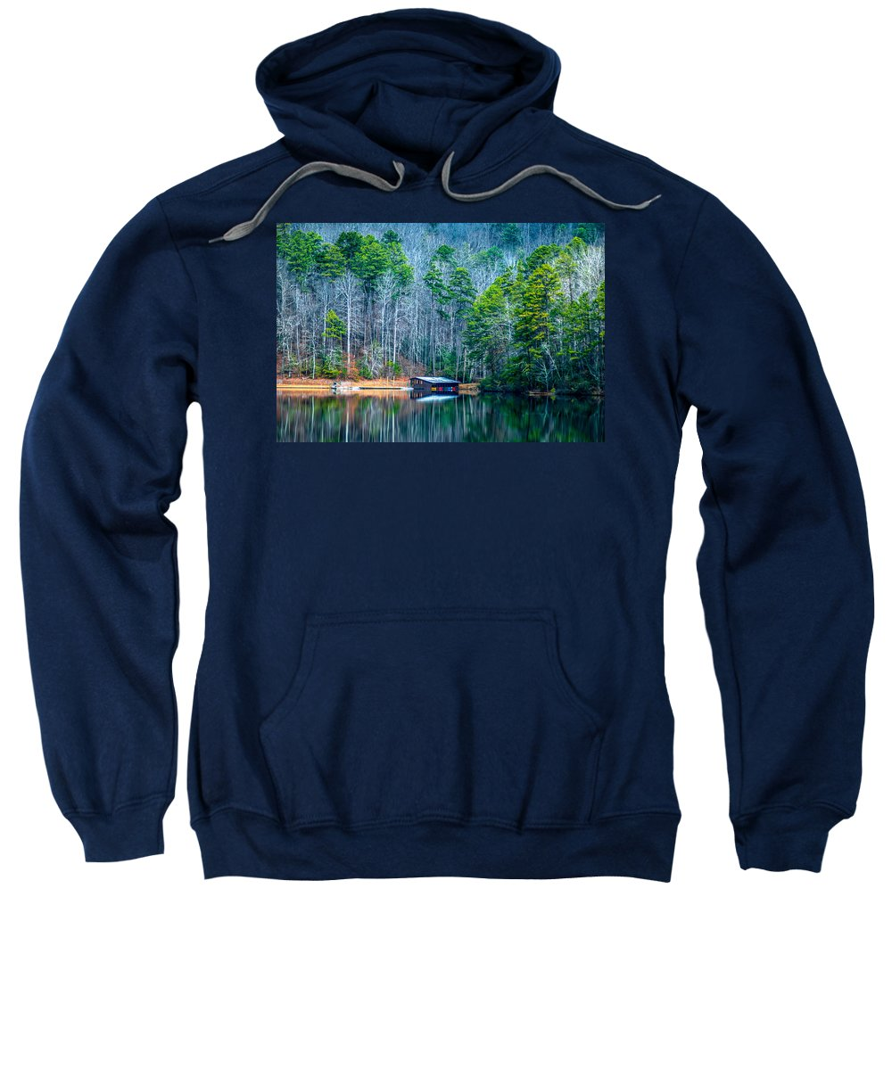 Optical Playground By Mp Ray Sweatshirt featuring the photograph Boathouse On Pinnacle Lake by Optical Playground By MP Ray