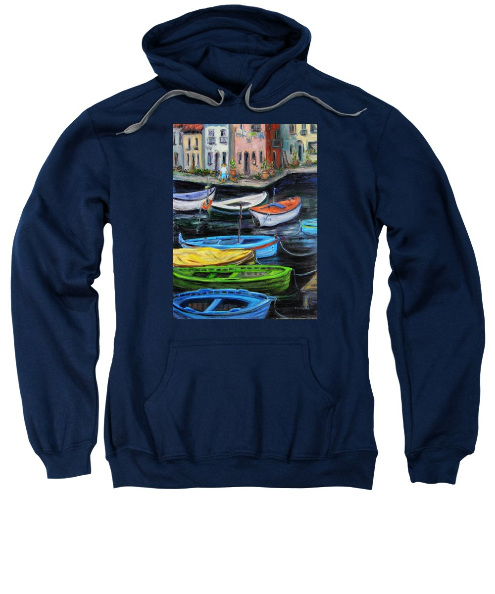 Village Sweatshirt featuring the painting Boats In Front Of The Buildings II by Xueling Zou