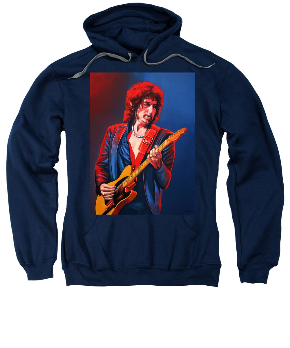 Bob Dylan Sweatshirt featuring the painting Bob Dylan Painting by Paul Meijering
