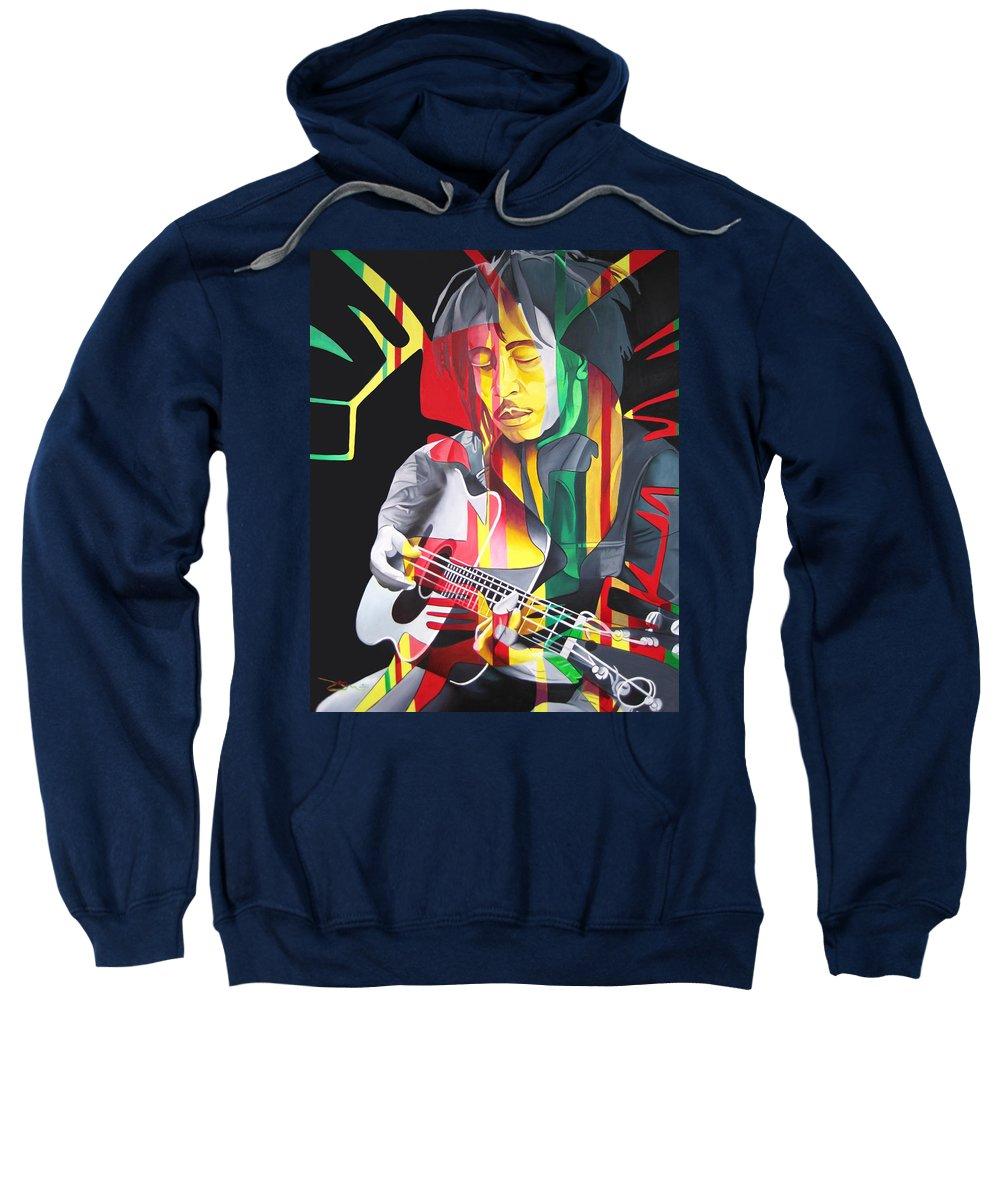 Bob Marley Sweatshirt featuring the painting Bob Marley And Rasta Lion by Joshua Morton