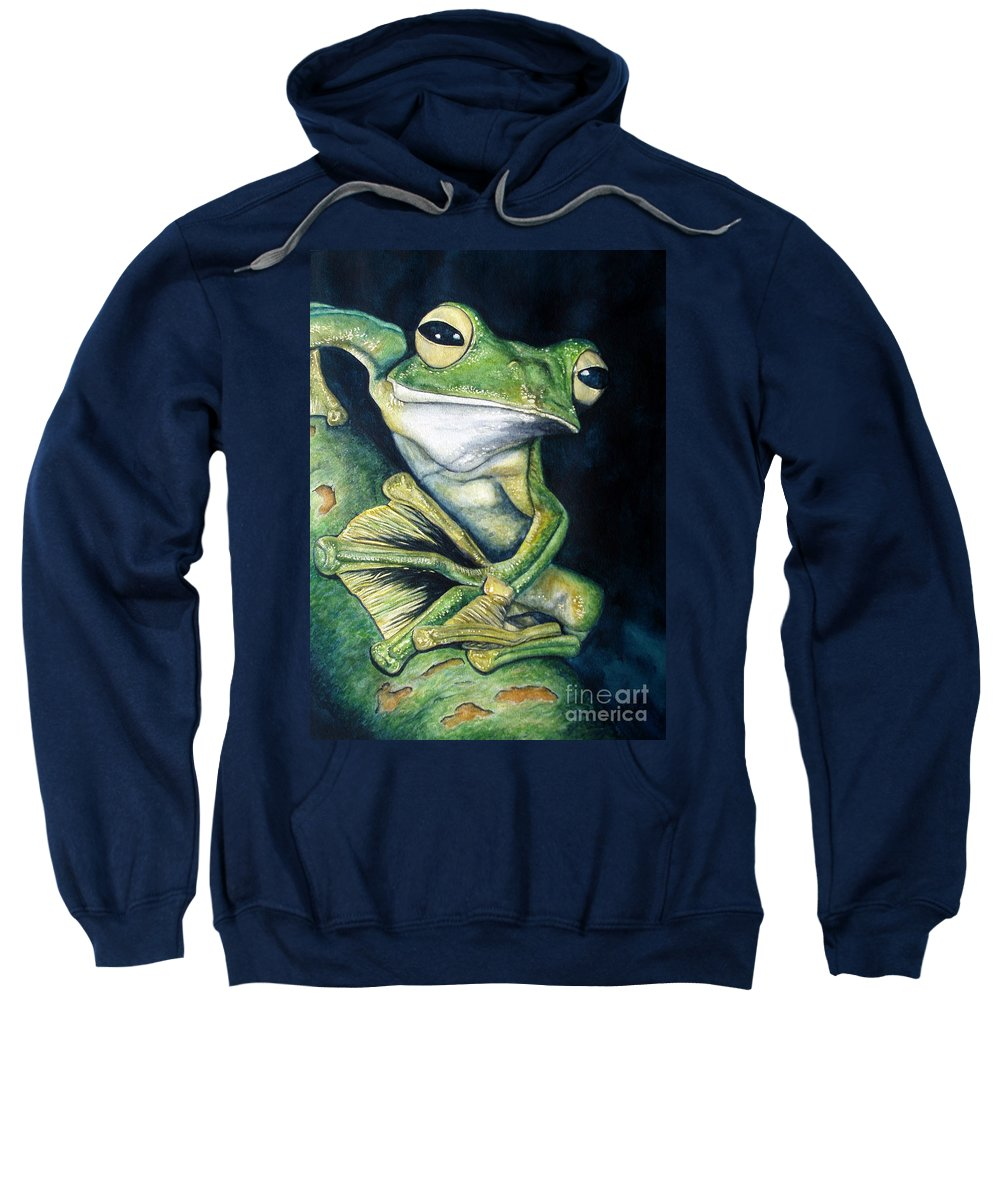 Frog Sweatshirt featuring the painting Boreal Flyer Tree Frog by Joey Nash