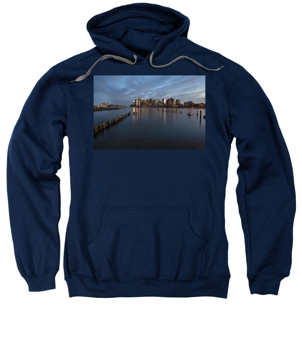 Boston Sweatshirt featuring the photograph Boston Skyline At Dusk by Eric Gendron