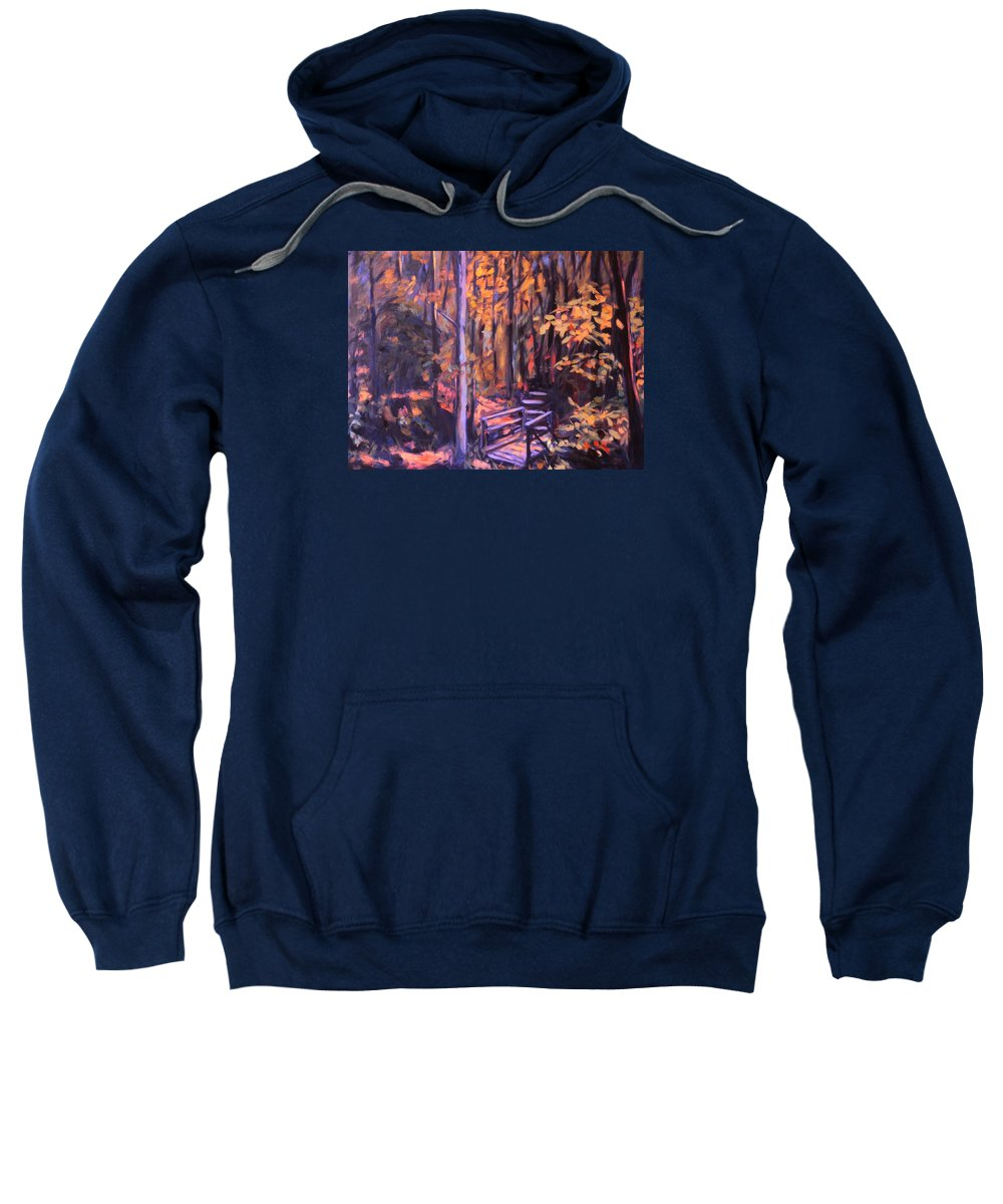 Woods Sweatshirt featuring the painting Bridge In Woods Near Pandapas by Kendall Kessler