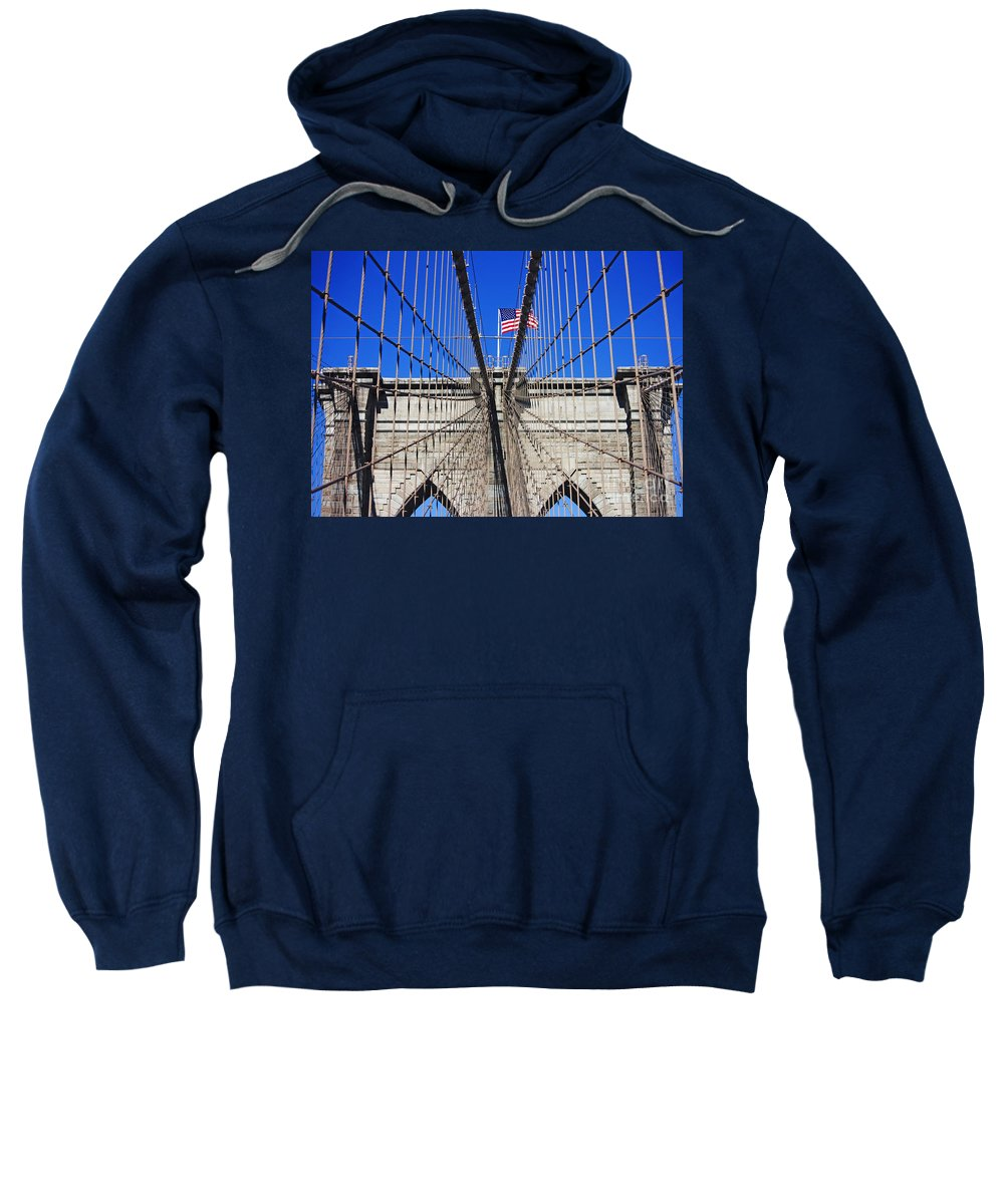 Brooklyn Bridge Sweatshirt featuring the photograph Brooklyn Bridge With American Flag by Nishanth Gopinathan