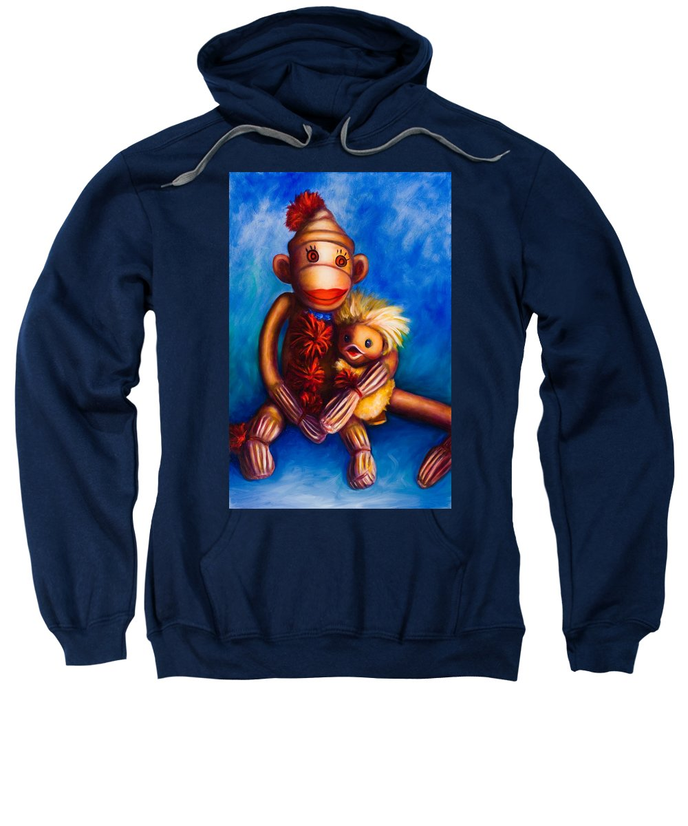Sock Monkeys Brown Sweatshirt featuring the painting Buddies by Shannon Grissom