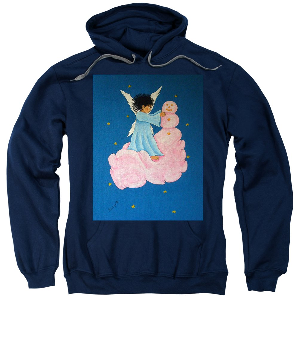 Allegretto Art Sweatshirt featuring the painting Building A Cloudman by Pamela Allegretto