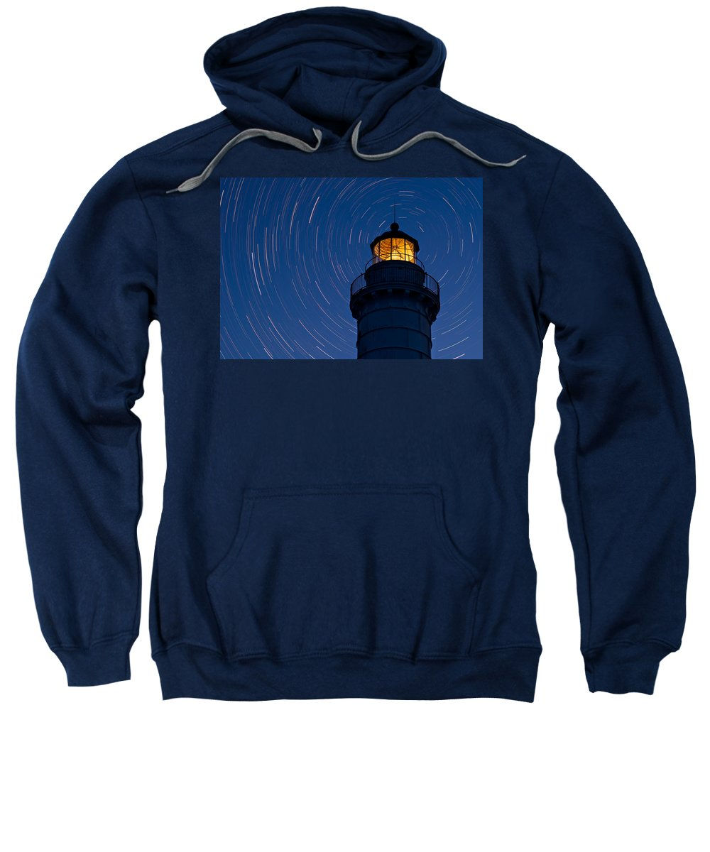 Astronomy Sweatshirt featuring the photograph Cana Island Lighthouse Solstice by Steve Gadomski
