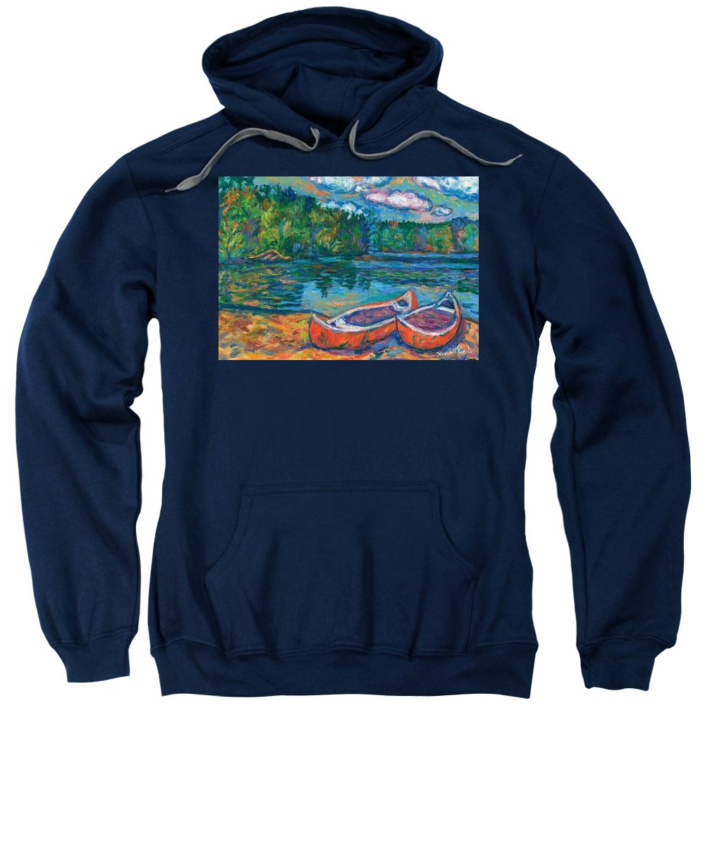 Landscape Sweatshirt featuring the painting Canoes At Mountain Lake Sketch by Kendall Kessler