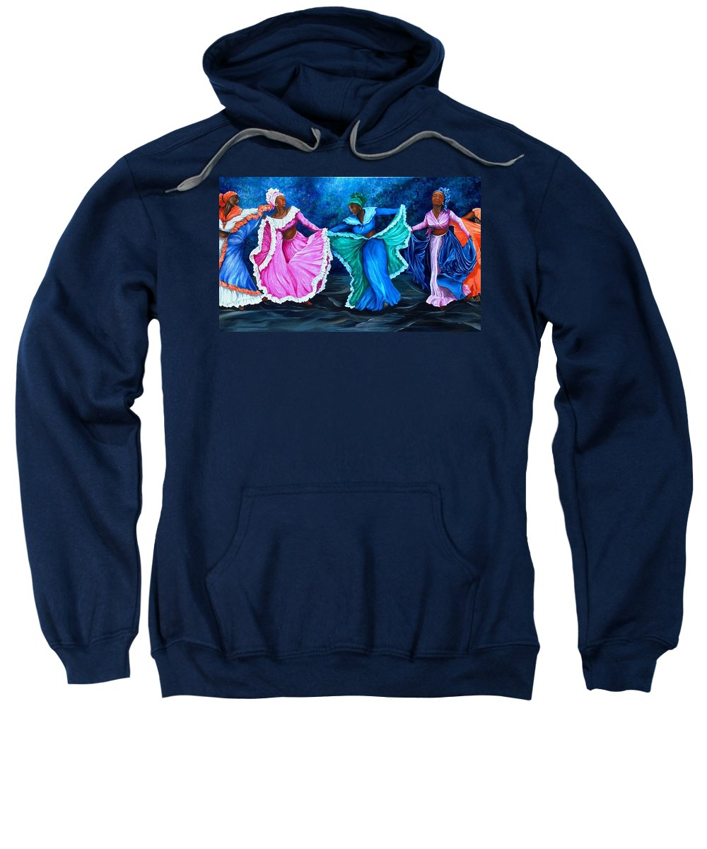 Caribbean Dance Sweatshirt featuring the painting Caribbean Folk Dancers by Karin Dawn Kelshall- Best