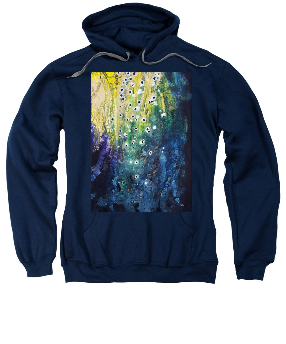 Abstract Sweatshirt featuring the painting Cascading Colors by Tara Thelen