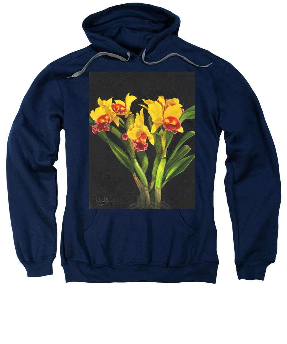 Flower Sweatshirt featuring the painting Cattleya Orchid by Richard Harpum