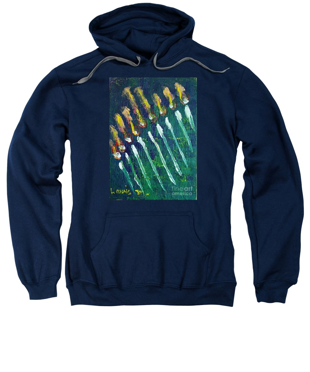 Chanukah Sweatshirt featuring the painting Chanukiah In The Dark by Laurie Morgan