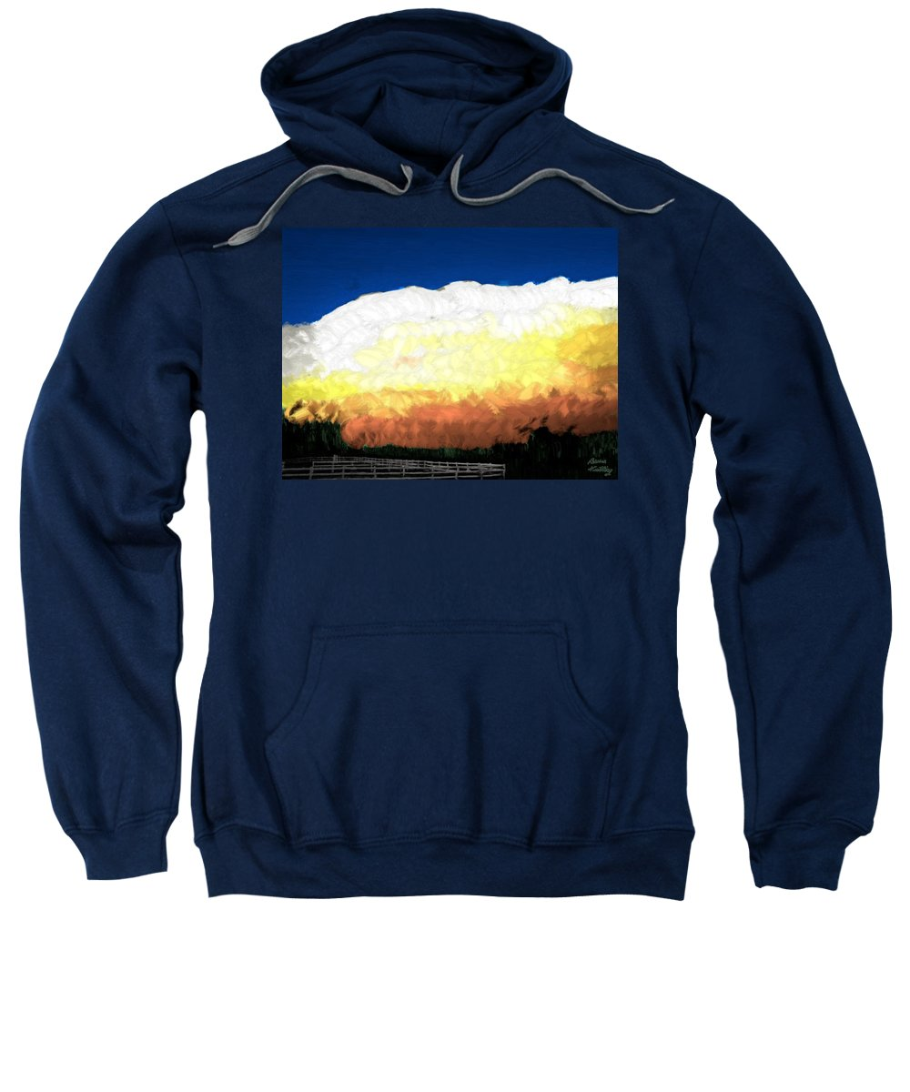 Clouds Sweatshirt featuring the painting Chaparra Supercell At Sunset by Bruce Nutting