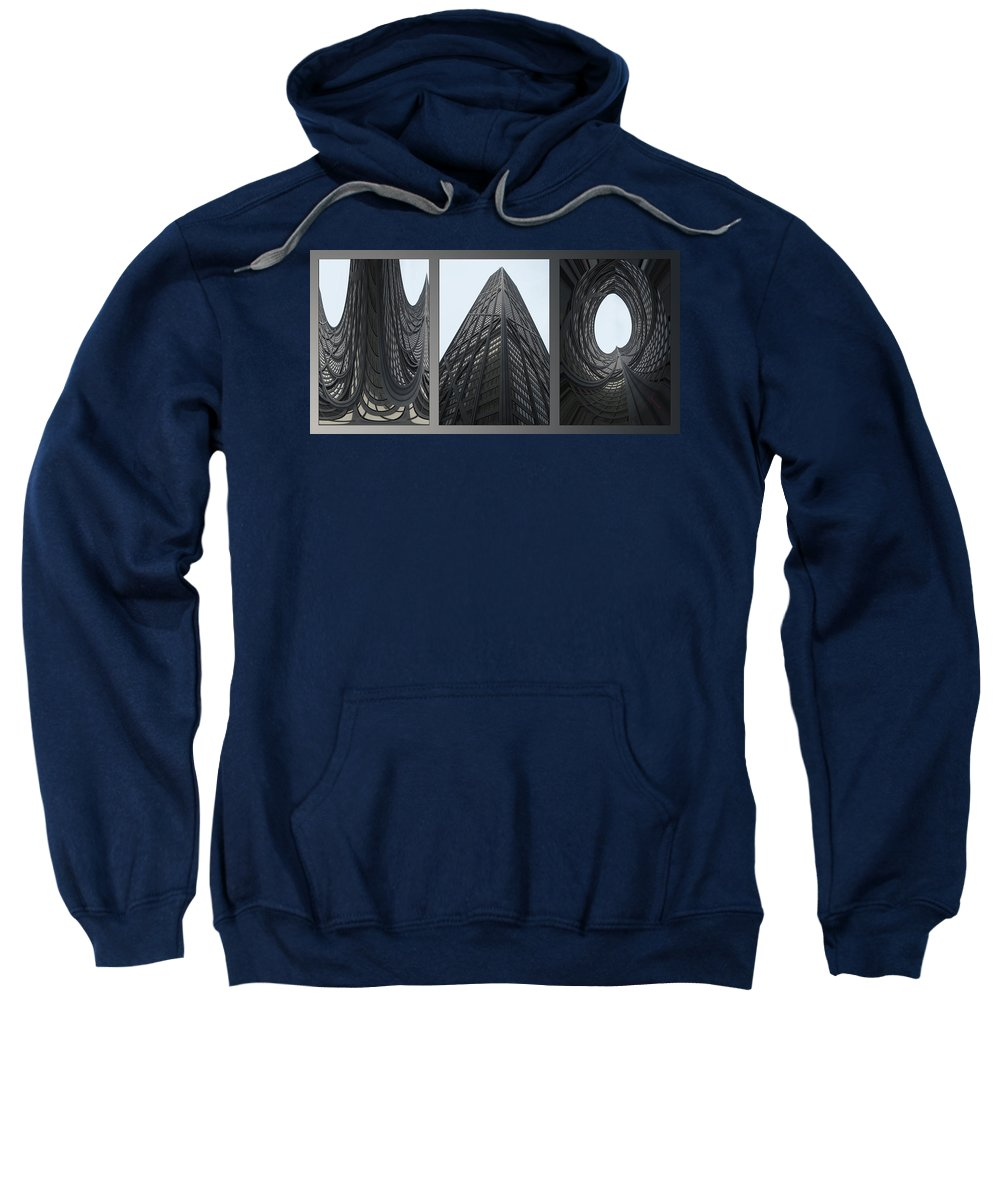 Chicago Sweatshirt featuring the photograph Chicago Abstract Before And After John Hancock Sw Facades Triptych 3 Panel by Thomas Woolworth