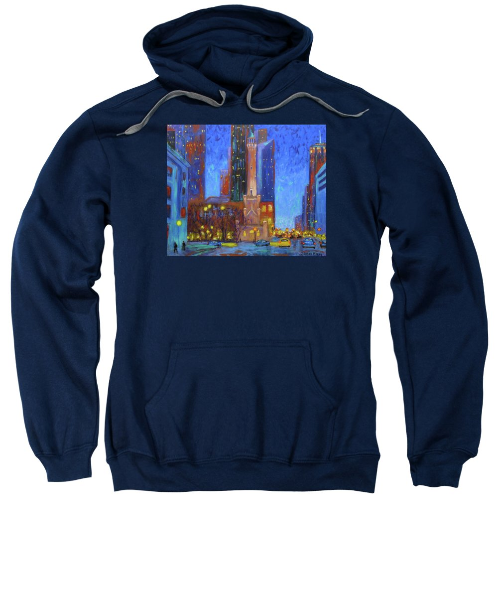 Chicago Water Tower Sweatshirt featuring the painting Chicago Water Tower At Night by J Loren Reedy