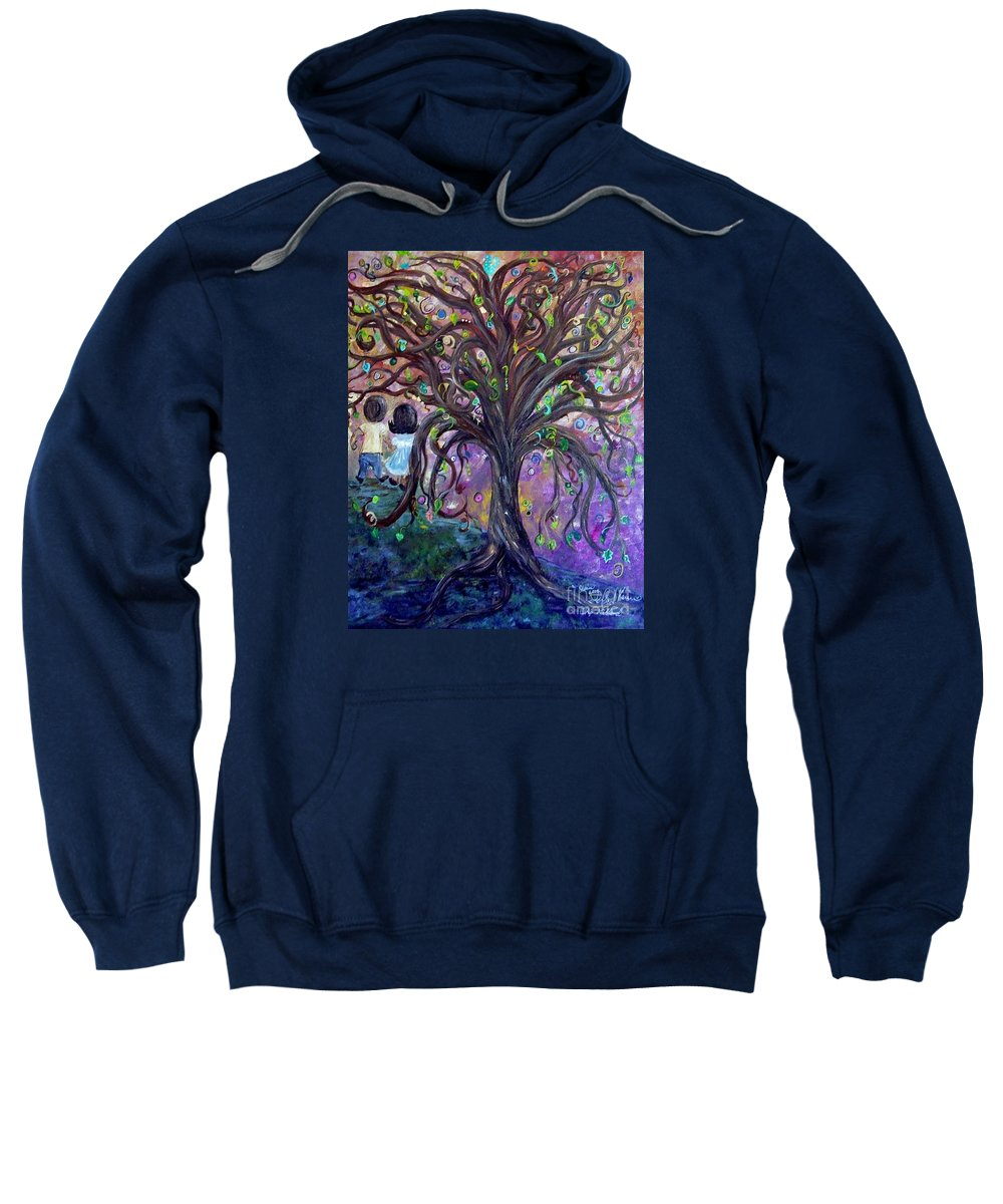 Child Sweatshirt featuring the painting Children Under The Fantasy Tree With Jackie Joyner-kersee by Eloise Schneider Mote