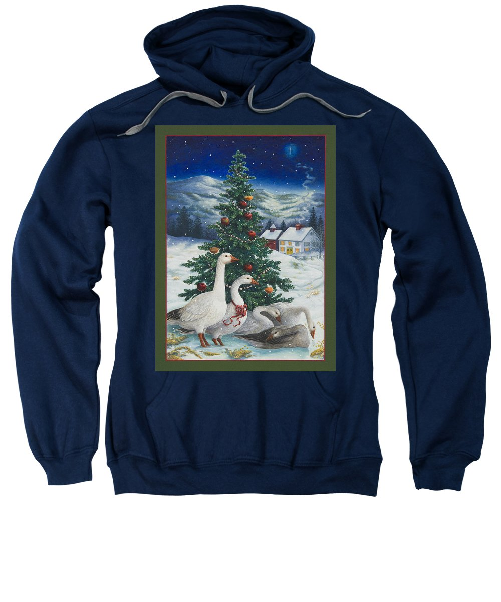 Christmas Sweatshirt featuring the painting Christmas Geese by Lynn Bywaters