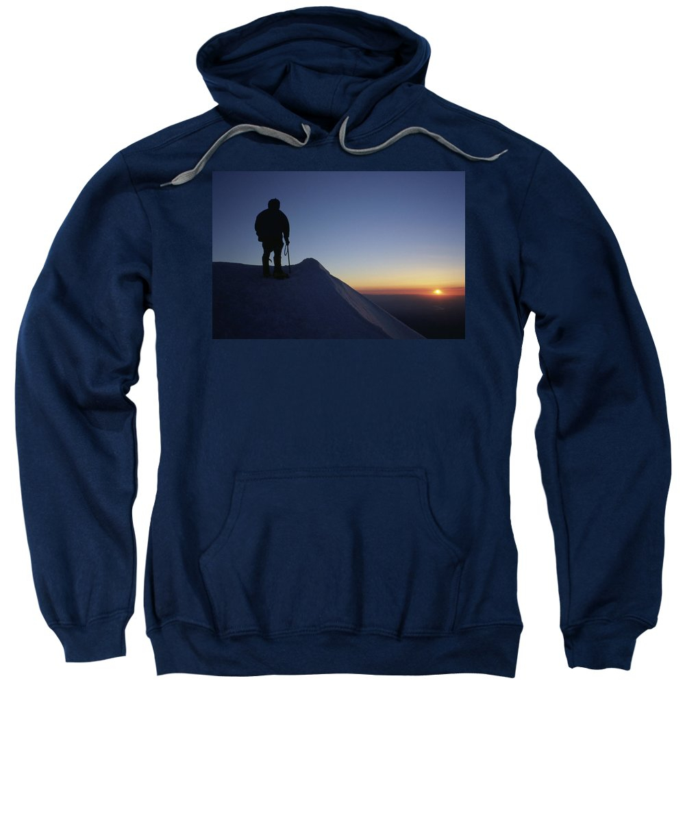 Climber Sweatshirt featuring the photograph Climber Enjoying A Sunrise by Richard Hallman