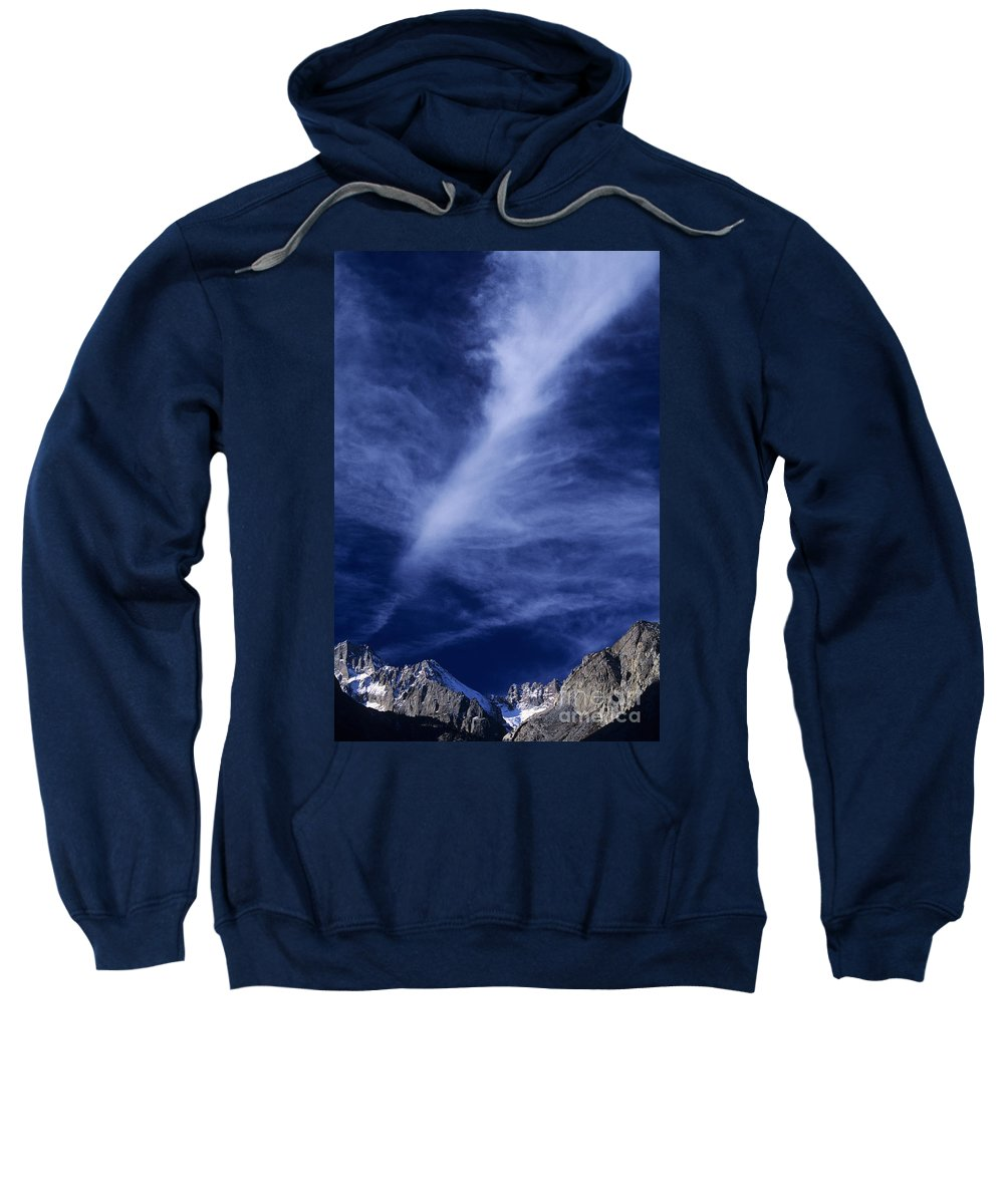 North America Sweatshirt featuring the photograph Clouds Over Middle Palisades Glacier California by Dave Welling