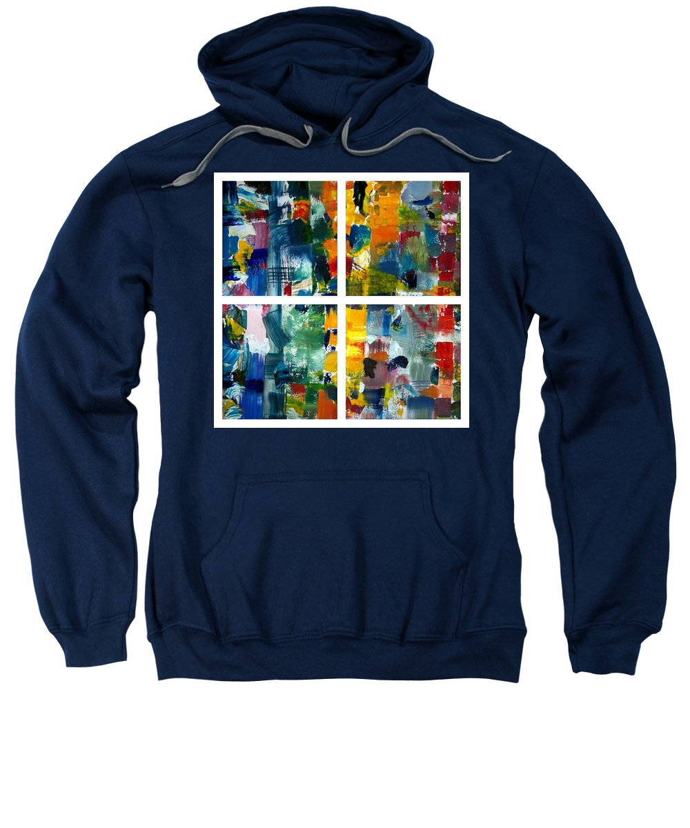 Abstract Collage Sweatshirt featuring the painting Color Relationships Collage by Michelle Calkins