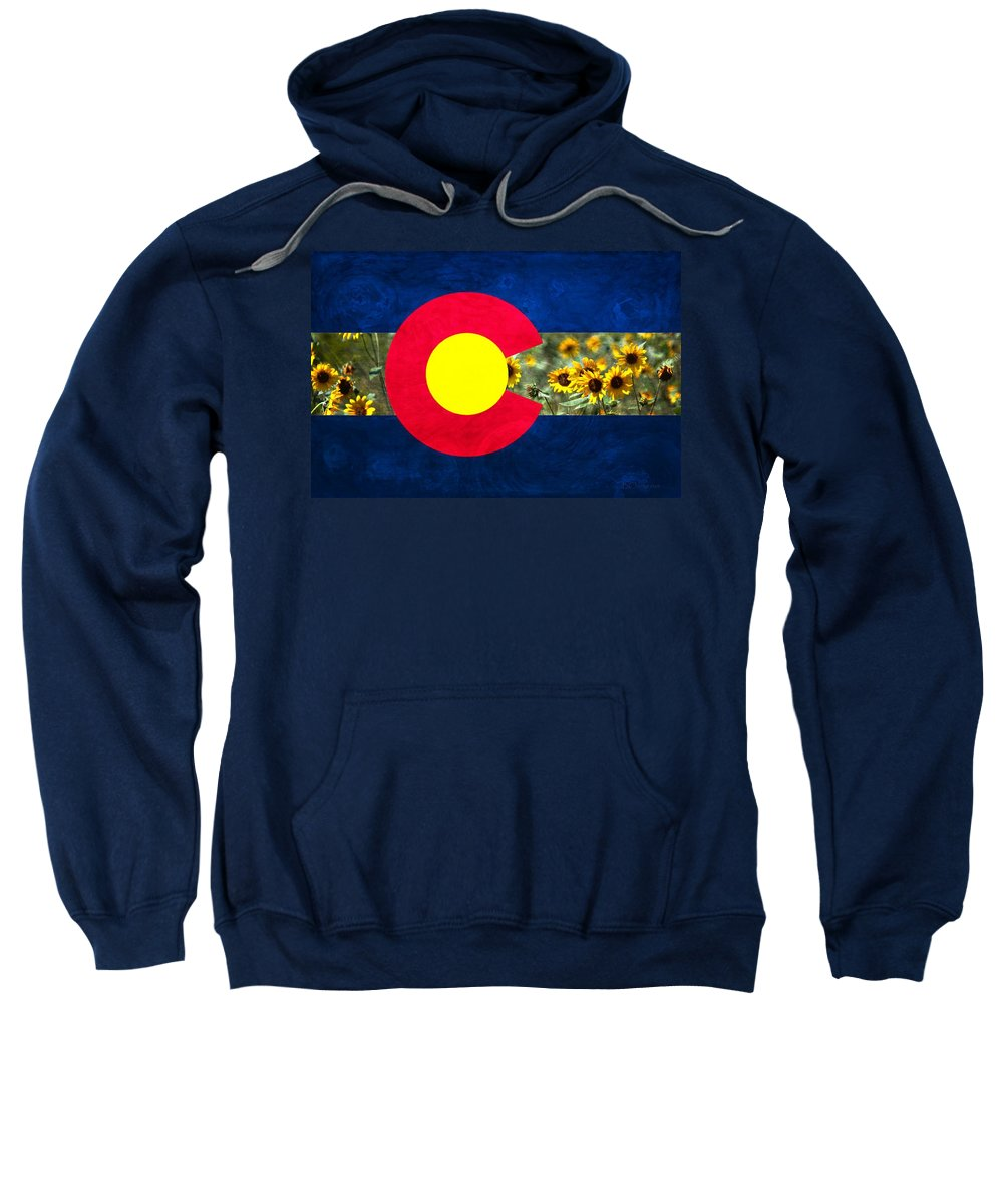 Colorado Sweatshirt featuring the photograph Colorado State Flag In Van Gogh by Barbara Chichester