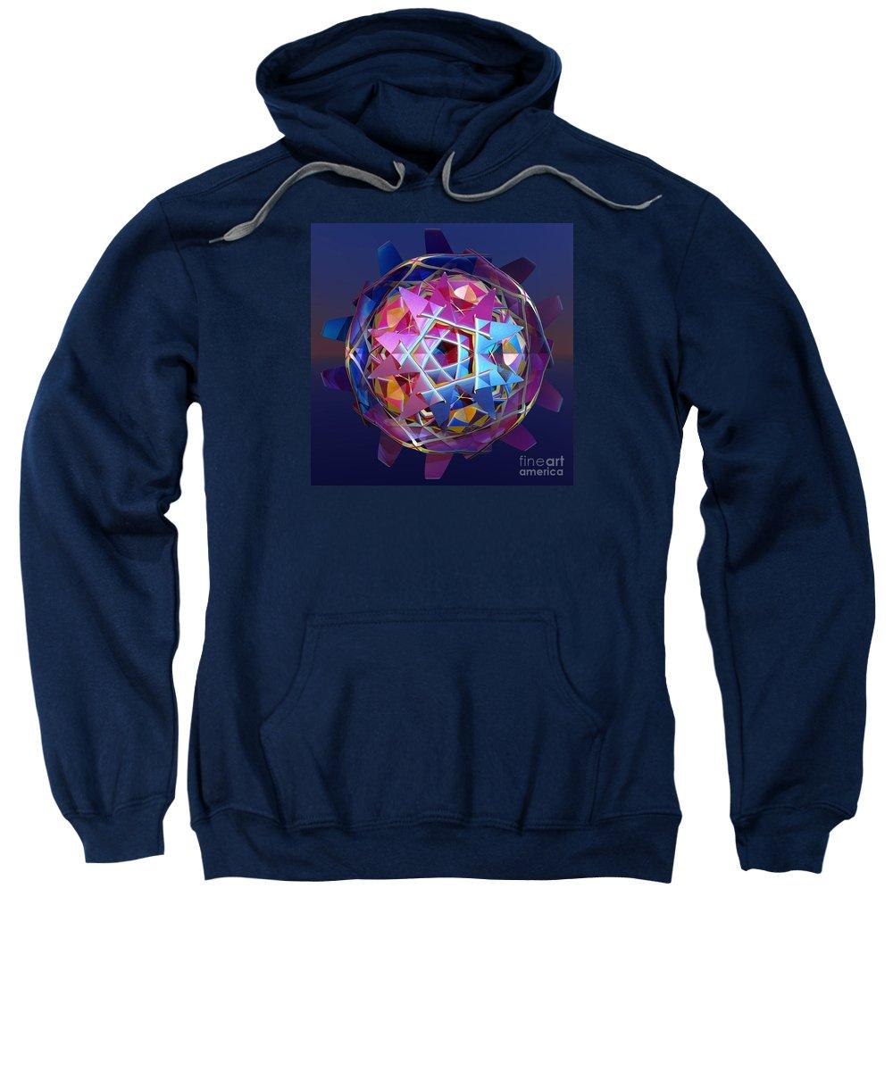 Sci-fi Sweatshirt featuring the digital art Colorful Metallic Orb by Gaspar Avila